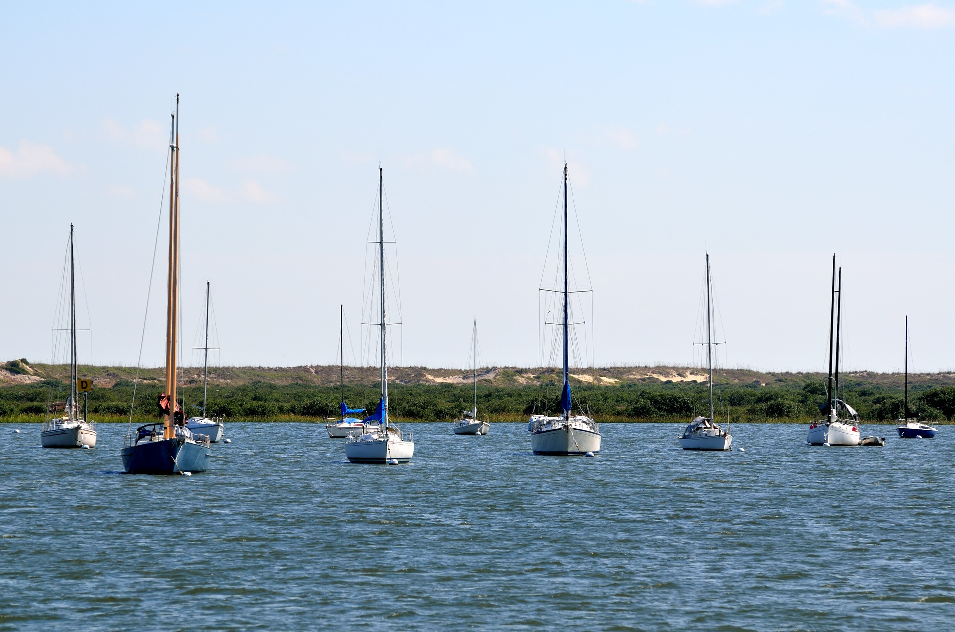 Sailboats at a mooring field which can be an effective low cost alternative keeping your boat in a slip.